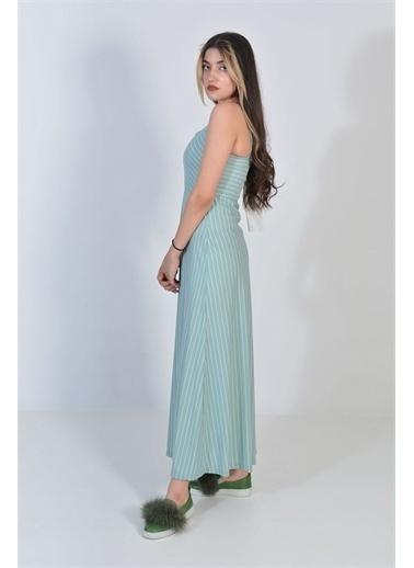 Zeren Kadın Mint Çizgi Desenli Elbise Yeşil